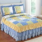 bedspread and comforter sets - Blue, Yellow and White Country Patchwork Full Bed Spread