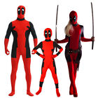 Kid Adult Men Women Lycra Deadpool Muscle Outfit  Comic X-Men Superhero Costume