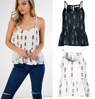 Womens Tribal Print Cami Vest Top Strappy Racer Tiered Tank Boho Holiday