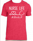 Berry Unisex T-Shirt Vinyl Lettering - Nurse Life Hashtag Love It Stethoscope