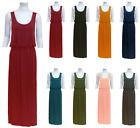 Women's Ladies Sleeveless Long Maxi Plain Scoop Neck Dress