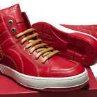 NEW Ferragamo NICKY Red Leather Gancini Men's Stitched High-Top Fashion Sneaker