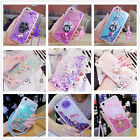 For Smart phone Long chain Glitter Hearts Dynamic Liquid Ring Stand Case Cover