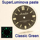 WATCHES-PARTS: HAND PAINTED SUPERLUMIA  916 DIAL VOSTOK AMPHIBIA GREEN BLUE LUME