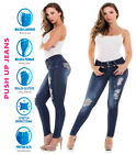 Colombian Blue Ripped Jeans Push Up Skinny Butt Lifter Slimming Levanta Cola New