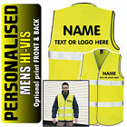 Personalised Mens/Adults Hi-Vis Safety Vest Jacket High Visibility Hi Viz