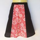 Black and Red Ladies A Line Skirt - ladies sizes avail - floral, daisy, flower