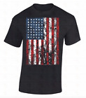 American Flag T-SHIRT Distressed patriotic tattered vintage USA flag men's tee image