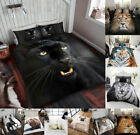 Wild Animal Duvet Cover Sets Bed Sheets Jungle Zoo Dog Big Cats 3D Printed Look
