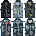 NEW Denim Vest Jean Jacket Men's Waistcoat Sleeveless Vintage Slim Casual Jacket