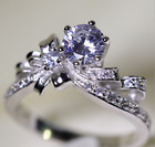 different crystals - Women's Lovely Sliver Bownot Purple Crystals Design Frosted Ring Different Size