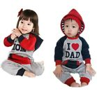 NWT Baby Boys Girls Hoodies Tracksuit Cotton Romper Jumper I lOVE MOM and DAD