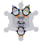 Snowflake Penguins Family of 3 Personalized Photo Frame Ornament