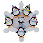 Snowflake Penguins Family of 5 Personalized Photo Frame Ornament