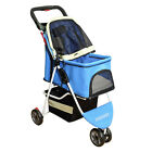 Latest Pet Stroller Pushchair Small Dog Cat Puppy Carrier 3 Wheels Foldable Cart