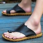 Men's Leather Summer Outdoor Flip Flops Breathable Sandals Beach Shoes Slippers