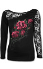 Spiral Clothing Gothic Occult Goth Death Rose Lace Mesh Top Shirt