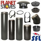 "SFL Sflue 6"" 150mm Black Multifuel Twin Wall Flue Pipe Twist Lock System"