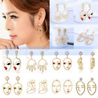 Fashion Women's Gold Plated Abstract Face Pearl Hollow Out Ear Stud Earrings