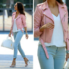 Authentic Zara Pastel Pink PU Faux Leather Effect Biker Jacket with Zip 3046/221