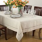 Fennco Styles Handmade Hemstitch Design Natural Tablecloth