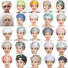 New Women's Men's Hat Adjustable Floral Printed Bouffant Cap Hair Cover Worked