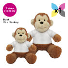 1 Blank Max Monkey Soft Toy Plain White T-Shirt Transfer Sublimation Gifts