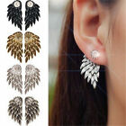 Fashion Women Angel Feather Wing Earrings Rhinestone Hook Ear Stud Hoop Gift