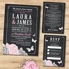 Package Deal - Wedding Invitation, RSVP and Gift Poem, Chalkboard Butterfly