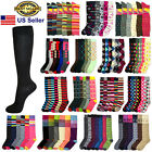 6 12 Pairs Women Girls Knee High Multi Color Fashion Fancy Design Socks 9 11