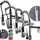 18'' LED Pull Down Swivel Spout Single Hole Kitchen Sink Faucet Mixer Tap Spring