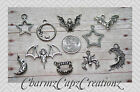 10pc Halloween Bats Silver/ Charm Set Lot Collection / Jewelry,Crafts/Star, Moon