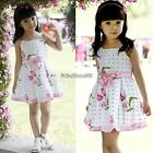 Baby Girl's Kids Dresses Floral Princess Clothing With Ribbon Bow C5