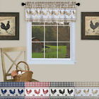 Plaid Rooster Window Curtain Valance - Assorted Colors