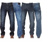 New ENZO Mens Straight Regular Basic Blue Denim Jeans Pants All Waist Sizes