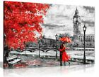 London Oil Painting Artwork Big Ben Red Umbrealla Canvas Wall Art Picture Print