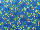 Christmas Trees & Candy Canes on Blue Cotton Quilting Fabric Crafts Remnant