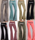 S-M-L NEW Chatoyant Mineral Wash Bell Bottom Soft Pants- 8 Colors Greens, Blacks