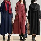 Trendy Women Long Plus Size Maxi Dress Hoodies Hooded Oversized Buttons Down