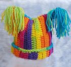 HAND CROCHETED RAINBOW STRIPED HAT BABY GIRL square beanie tassels knit PTY1