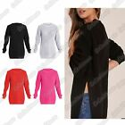New Ladies Chunky Knitted Side Split Baggy Long Sleeve Jumper Warm Sweater Top