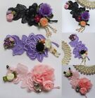 Victorian Ribbon Flower Roses Fringe Crystal Embroidered Lace Appliques-SA143