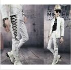 Mens Skinny Causal Lace Up Motorcycle Biker Rider Vegan Faux Leather Long Pants