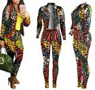 Fashion Women Printing Casual Suit Long Coat Jacket + Pants Clothes Outfit Sets