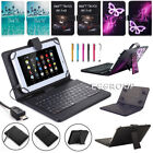 For LG G Pad 7'' 8'' 10'' Tablets PC Micro USB Keyboard Leather Stand Case Cover