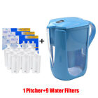 10 Cups Water Pitcher Water Filtration System for Brita with 3/6/9 filters New