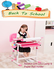 Kid's Height Adjustable Desk & Chair  WITH LED LAMP & PAPER ROLL HOLDER - Newton