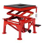 Red Motorcycle Hydraulic Scissor Floor Jack Lift Hoist Center Stand Lifts 300lbs