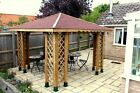 10ft x 10ft(Ex12ft x 12ft)GARDEN WOODEN GAZEBO WITH OPTIONAL SHINGLES POSTS 7x7