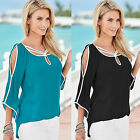 Women Cold Shoulder Blouse 3/4 Sleeve High Low Fashion Loose Casual Tops T Shirt